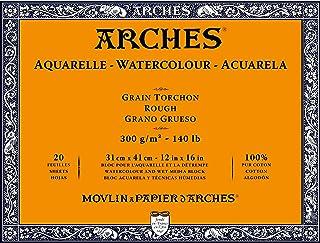 Arches 1795087 akvarellpapper i blocket (31 x 41 cm, limmade på 4 sidor, 300 g/m² grovkorn) 20 ark naturligt vita