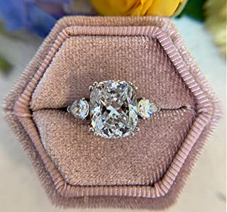 The Lux Box: Gorgeous Antique Velvet Geometric Ring Boxes for Proposals and Wedding Photos || Hexagon and Oval || Single or Double Rings || Fits Wide & Slim Bands (Dusty Rose Hexagon Single Ring)