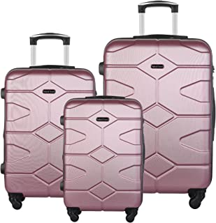 HyBrid & Company Luggage Set Durable Lightweight Hard Case Spinner Suitcase LUG3-LY09, 3 Pieces, Pink