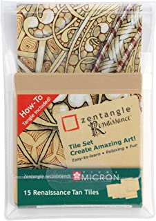 zentangle Renaissance Tan Tiles, 15 marron zentangle de baldosas