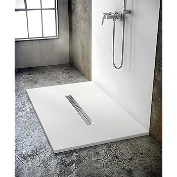 Bodengleiche Duschwanne Mit Duschrinne 160x100 Aus Mineralguss Begehbare Dusche 100x160 Werkseitig Einkurzbar Amazon De Baumarkt