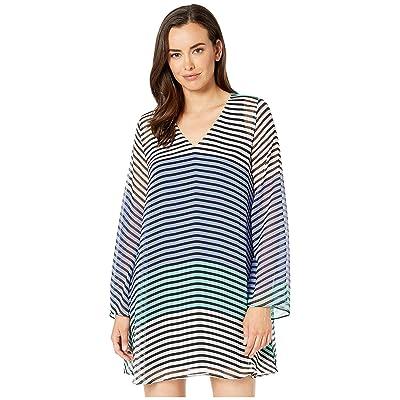 eci Striped V-Neck Chiffon Tunic Dress (Blue/Green) Women