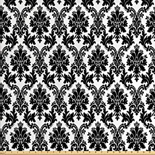 Lunarable Damask Fabric by The Yard, Vintage Style Pattern Classical Victorian Interior Design Elements Floral Print, Deco...