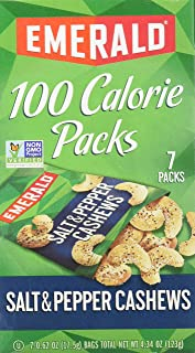 Emerald Nuts Salt & Pepper Cashews, 100 Calorie Packs, 7 Count