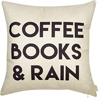 Fjfz Coffee Books and Rain Décor Motivational Inspirational Quote Decoration Cotton Linen Home Decorative Throw Pillow Case Cushion Cover with Words for Book Lover Worm Sofa Couch, 18