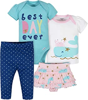 Baby Girls' 4-Piece Shirt, Bodysuit, Pant and Skirted...