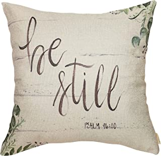 """Fjfz Be Still Greenery Floral Retro Country Style Farmhouse Décor Spring Summer Decoration Gift Cotton Linen Home Decorative Throw Pillow Case Cushion Cover with Words for Sofa Couch, 18"""" x 18"""""""