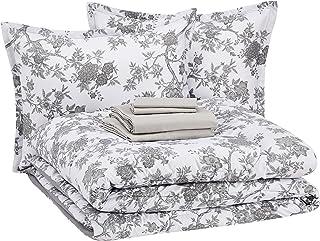 amazonbasics 8-Piece Comforter Bedding Set, Full / Queen, Grey Chinoiserie, Microfiber, Ultra-Soft