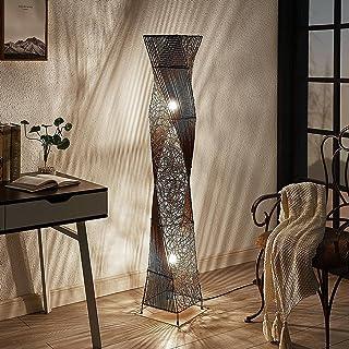Lampadaire Bois 'Kassia' en Marron e. a. pour Salon & Salle à manger (à 2 lampes, E27, A++) de Lindby | Lampadaire Sur Pie...