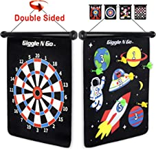 GIGGLE N GO Magnetic Dart Board Game - Our Reversible Rollup Kids Dart Board Set Includes 6 Safe Darts, 2 Dart Games and Easily Hangs Anywhere - Ultimate in Indoor Games SPACE THEME
