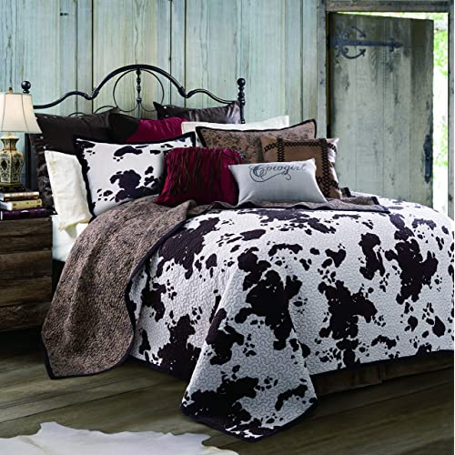 Charmant HiEnd Accents QW3067 FQ OC Elsa Cowhide Cow Print Quilt Set, Full/