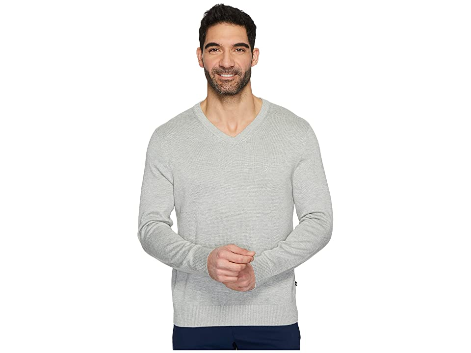 Nautica 12 Gauge V-Neck Sweater (Grey Heather) Men