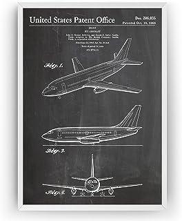 Boeing 737 1966 - Patent Print Aircraft Aviation Airplane Pilot Póster Con Diseños Patentes Decoración de Hogar Inventos C...