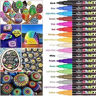 Rotuladores de pintura acrílica RATEL 18 colores Prima Impermeable Permanente Rotuladores para pintura rupestre, proyectos de bricolaje, cerámica, vidrio, lienzo, taza, metal, madera-Punta de 0.7 mm