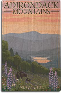Lantern Press Adirondacks Mountains, New York State - Bears and Spring Flowers (10x15 Wood Wall Sign, Wall Decor Ready to Hang)