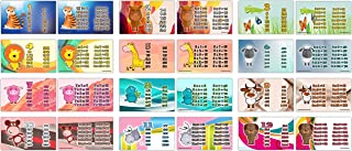 Cute Animals Multiplication Tables Flash Cards (24-Pack - 12 Cards Front & Back Designs x 2 Sets)