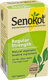 Senokot Regular Strength Natural Vegetable Laxative Ingredient,100 Count