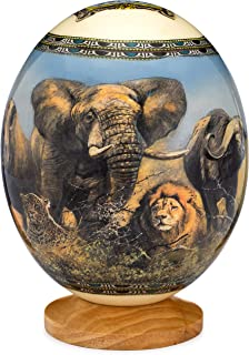 DUSTERS KILLER Premium Decorated Ostrich Egg with Wooden Display Stand - Decorative Painted Large Ornamental Eggshell - Various Designs for Display, Conversation Piece (Safari)