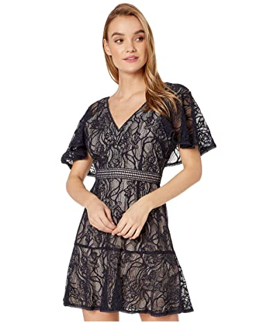 BB Dakota In My Lace Capelet Sleeve Lace Dress with Contrast Lining (Oilslick) Women