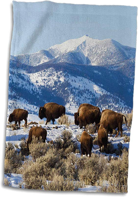 3D Rose Bison Herd Yellowstone National Park Hand Towel 15 X 22