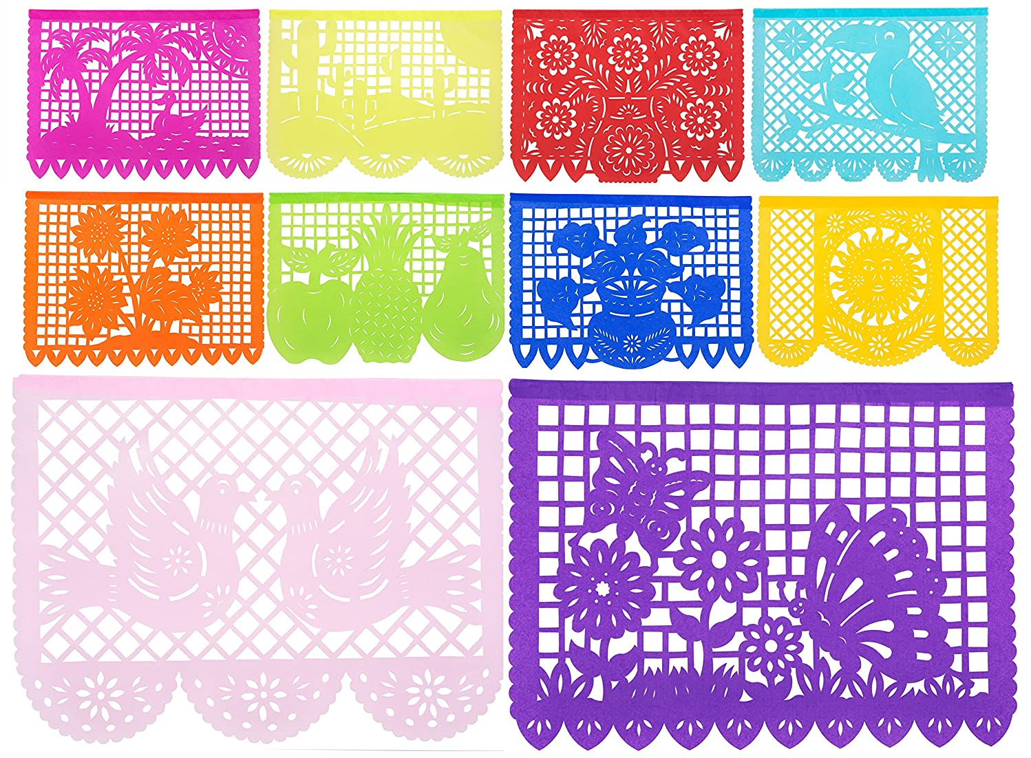 1pk - Beautiful 50 ft Long/Large Size Mexican Tissue Papel Picado Banner