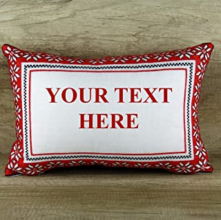 Custom Text Throw Pillow Cover Red Rectangular Hand Embroidered Personalized Cushions Covers Ukraine Folk Folklore Ethnic