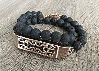 Double Wrap Black Lava Stones Bracelet For Fitbit Flex 2 Tracker Handmade Natural Volcanic Beads Band Rose Gold Metal Housing Fitbit Flex 2 Accessory Jewelry Aromatherapy Wristband