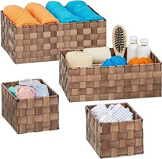 Relaxdays 10035329_93 Panier tressé Rangement, Lot de 4, Salle de Bain, rectangulaires, 3 Tailles, Plastique, Marron, PP, ...