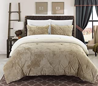 Chic Home Josepha 3 Piece Pinch Pleated Ruffled and Pintuck Sherpa Lined, King Comforter, Beige