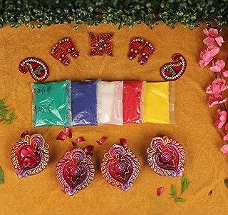 Tied Ribbons Diwali Diyas Set with Rangoli Colors and Swastik-Charan Paduka Stickers for Home Diwali Decorations Combo Pack