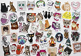 50Pcs Funny Stickers Cat Sticker Cats Decals Super Cute Animal for Kids Stickers for Hard Hats Animal Crossing Sticker Tea...