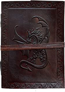 Handmade Celtic Dragon Brown Embossed Journal Notebook Writing Journal Gift for Man Women Leather Diary Personal Travel Jo...