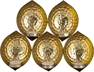 Hashcart Iron Sheet Tea Light Candle Holders (27 cm x 5 cm x 22 cm, Golden, Pack of 5)
