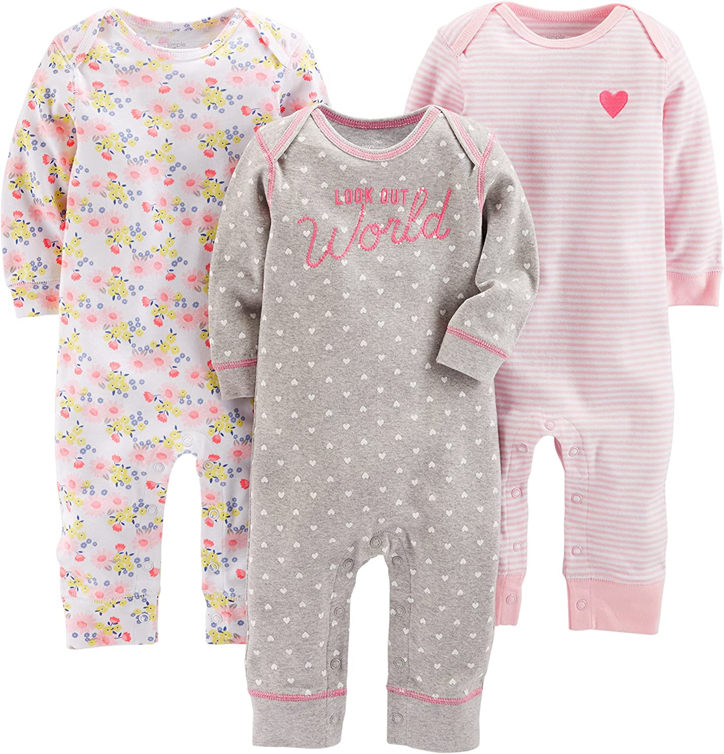 Simple Joys by Carter's 3-Pack Popular brand in the world 40% OFF Cheap Sale Jumpsuits Girls'