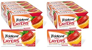 Trident Layers Strawberry & Citrus Sugar Free Gum, 12 Packs of 14 Pieces (Two Pack)