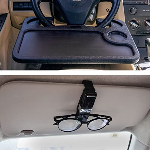 lowest EcoNour Gift Bundle | Car Steering Wheel Desk (2in1) + online Sunglasses Holder for Car (4 Pack) | Multipurpose Traveling Tray | Sunglass Visor Clip with Ticket & Card 2021 Holder outlet sale