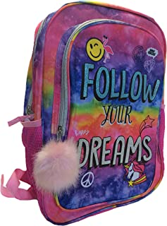Follow Your Dreams Backpack with Pom Pom and Unicorns