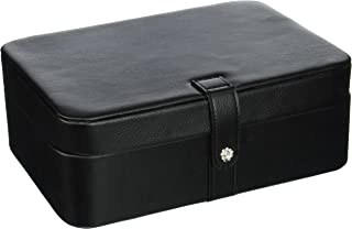 Mele & Co. Lila Earring and Ring Holder Jewelry Box in Faux Leather, 48 Sections (Black)