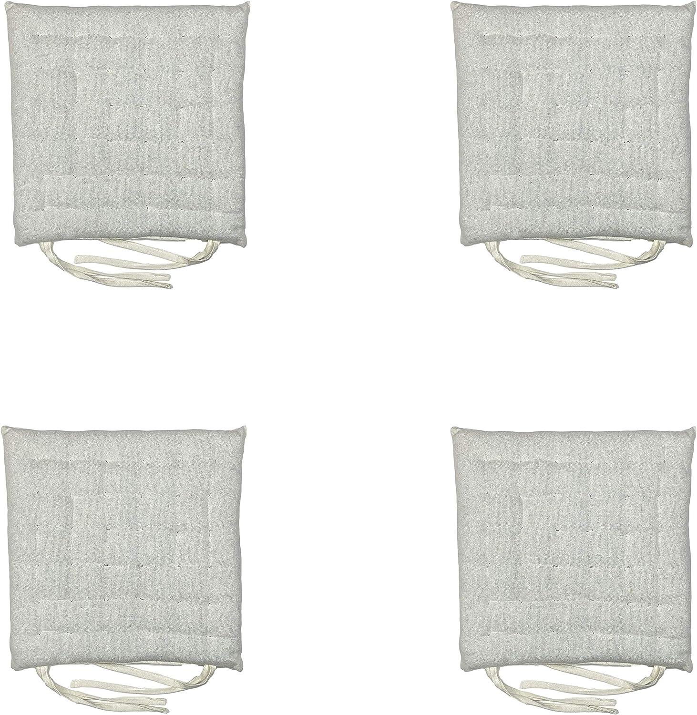 set di 4 cuscini per interni o esterni 100/% cotone vari motivi per decorare la tua casa dimensioni: 40 x 40 x 6 cm Cuscino per sedia con lacci colore: blu chiaro Homevibes