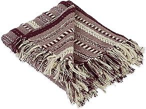 DII Farmhouse Cotton Stripe Blanket Braided Stripe BlackBerry