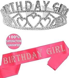 Birthday Girl Sash and Tiara, Birthday Girl Sash and Crown, Happy Birthday Party Supplies, Favors, Decorations 13th, 16th, 21st, 30th, 40th, 50th, 60th, 70th, 80th, 90th Birthday (Silver)