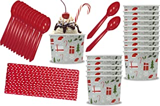 Holiday Christmas Themed 12 Ounce Ice Cream Bowls, Plastic Spoons, Polka Dot Paper Straws 16 Each Red, Silver, White, Green