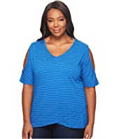 Plus Size Pinstripe Crossover Escape Top