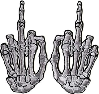 Middle Finger Skeleton Hand Patch | 3D Embroidered Patches 5.5
