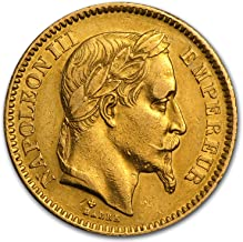 1853 FR - 1870 France Gold 20 Francs Napoleon III Avg Circ Gold Very Good