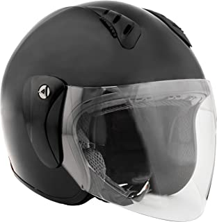 Fuel Helmets SH-WS0015 Unisex-Adult Open Face Helmet with Shield (Gloss Black, Medium)
