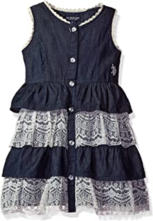 U.S. Polo Assn.... - Vestido Vaquero con Volantes de Cintura Imperial para niña