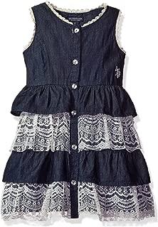 Girls' Denim Tank Dress with Empire Waist Ruffles