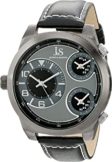Joshua & Sons Men'S Gray Dial Leather Band Watch - Js88Bk,