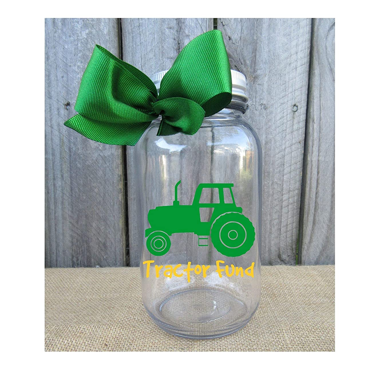 Tractor Fund Mason Jar Bank - Coin Slot Lid - Available in 3 Sizes